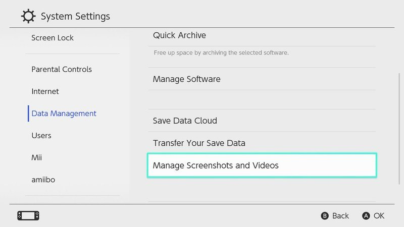 How to copy all screenshots and videos to microSD card in Nintendo Switch: Choose Manage Screenshots and Videos
