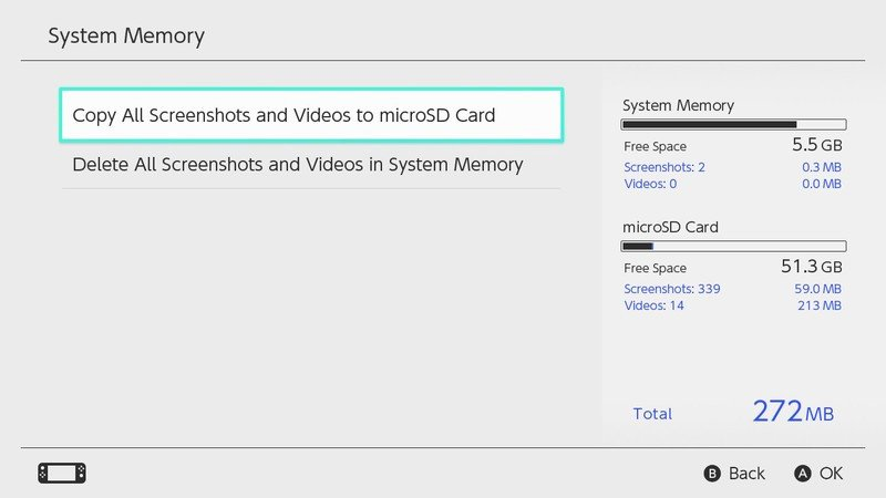 How to copy all screenshots and videos to microSD card in Nintendo Switch: Select Copy all screenshots and videos to microSD card