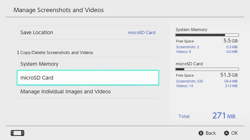 How to Delete All Screenshots and Videos from Micro SD Card in Nintendo Switch: Select MicroSD Card