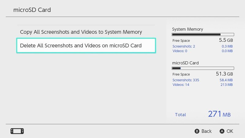 How to Delete All Screenshots and Videos from System Memory on Nintendo Switch: Select Delete All Screenshots and Videos from Micro SD Card