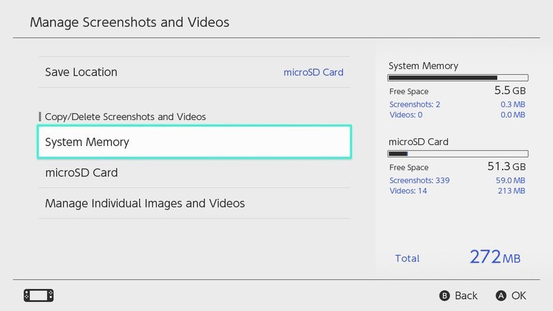 How to copy all screenshots and videos to micro SD card in Nintendo Switch: Select system memory