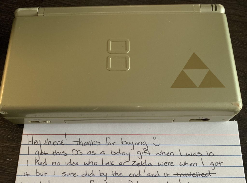 This second hand Nintendo DS comes with a heartfelt note