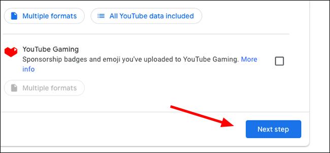 Google Takeout Next Step Button