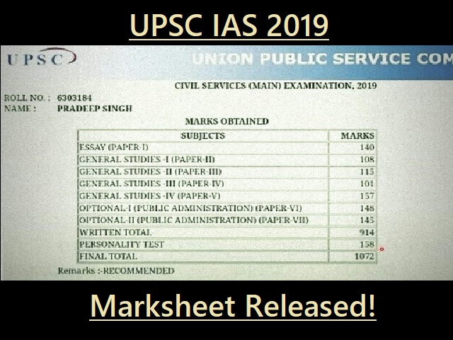 UPSC Result 2019 (IAS): Final Marksheet of Candidates Released - Download Now!