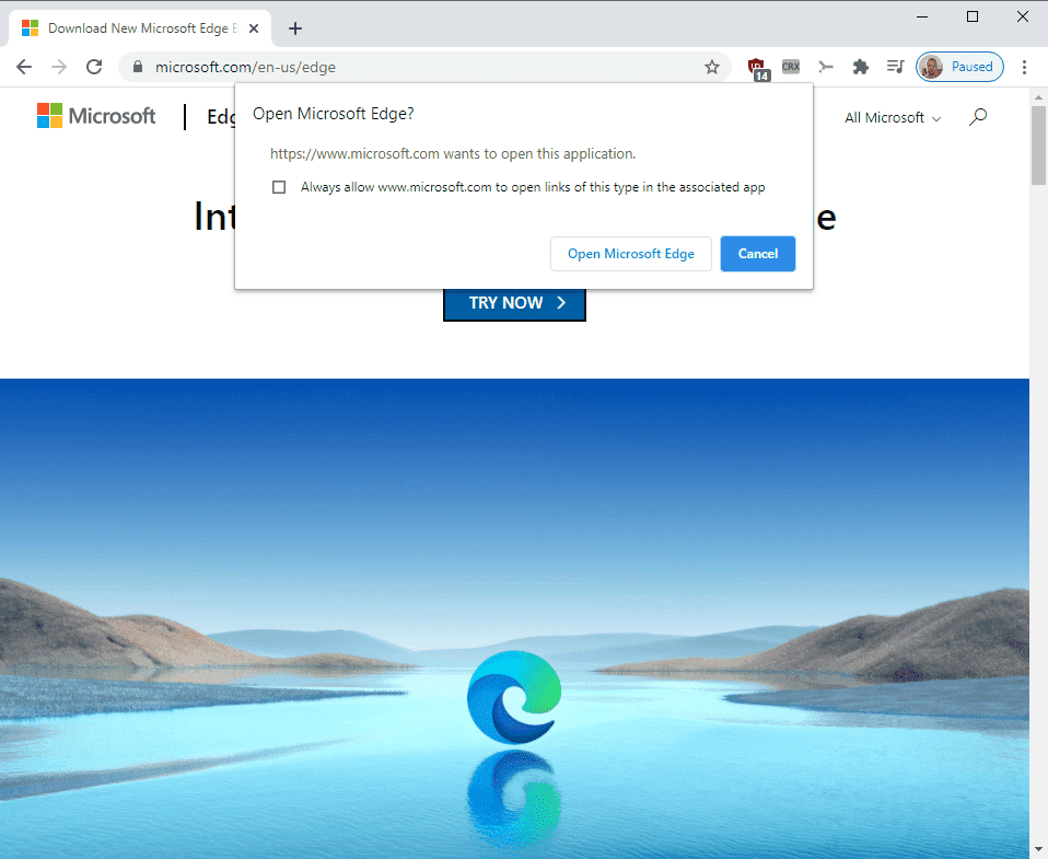 Margin required for Microsoft Edge download