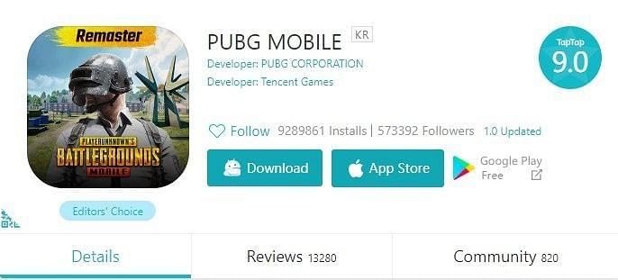 PUBG Mobile KR in TapTop Store