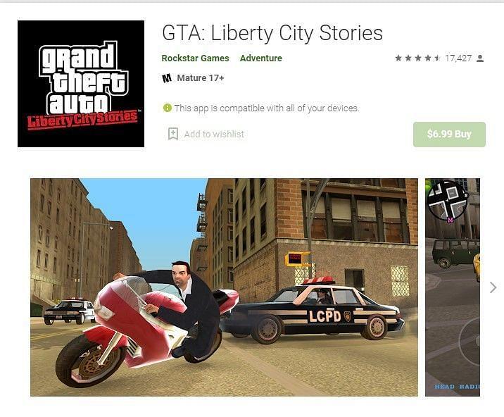 GTA Liberty City Stories on Google Play Store (Image Credit: Google Play Store)