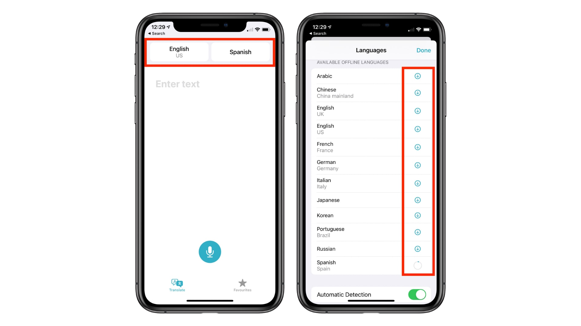 Download languages to use the new translation app for iOS 14 offline