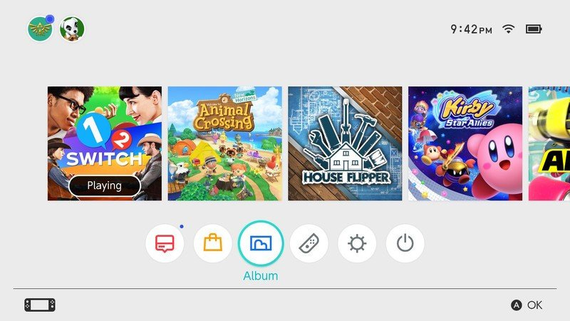 How to view your screenshots and videos on the Nintendo Switch: Navigate to the Album button on your home screen and press one