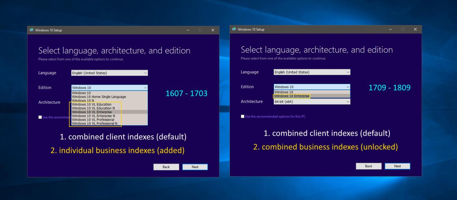 Media Creation Tool Media Selection based on Windows 10 version
