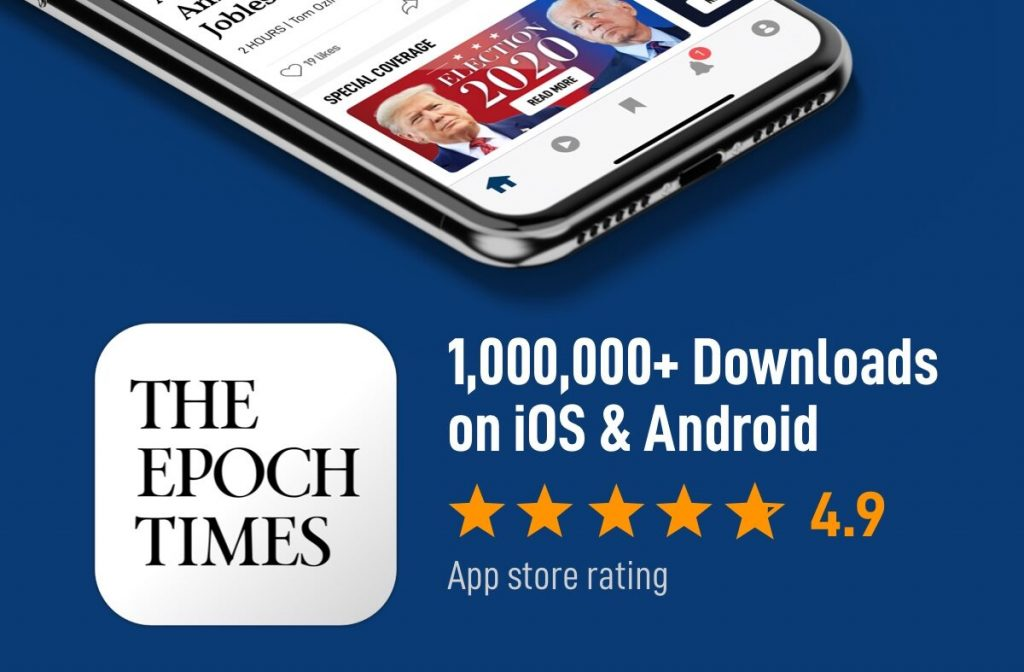 Epoch Times # 1 in App Downloads in the Newspaper section