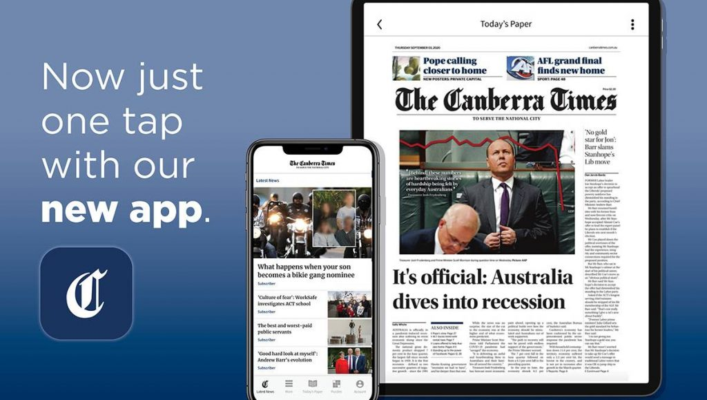 Canberra Times News App iOS and Android | Introduced for the Canberra Times