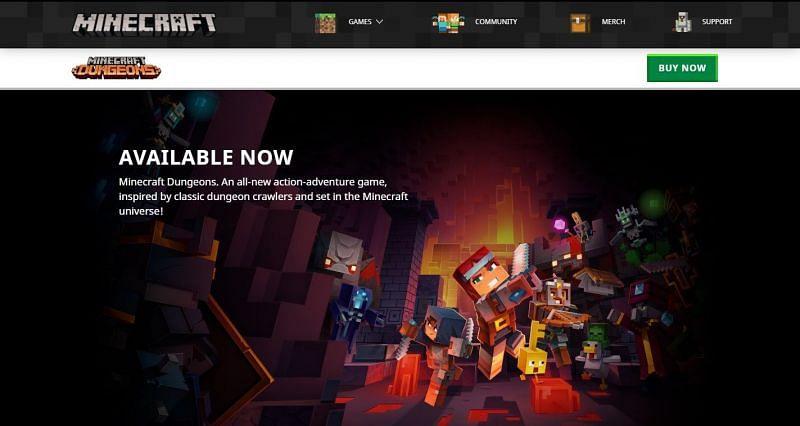 Minecraft's official website