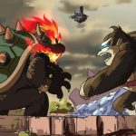 Bowser and Tonking face off in a mash-up of a Nintendo fan