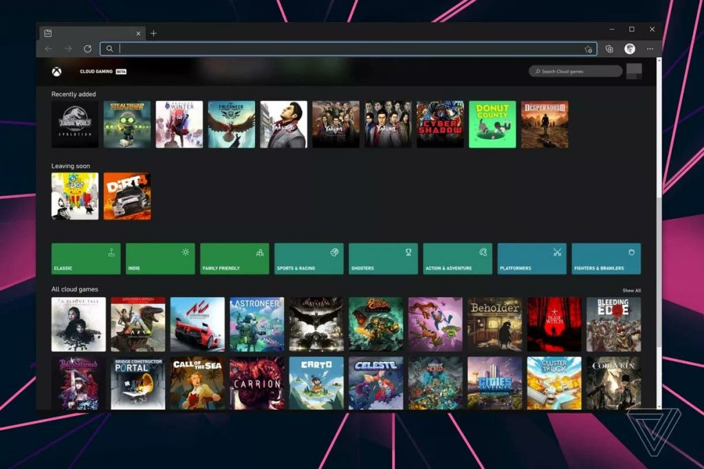 Web Browser with Xbox Cloud Gaming xCloud on PC | Xbox One