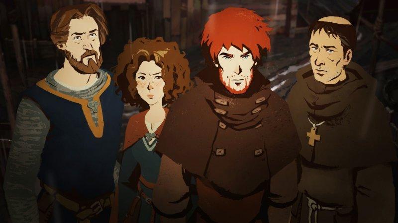 Les Piliers de la Terre de Ken Folat, les protagonistes du jeu.
