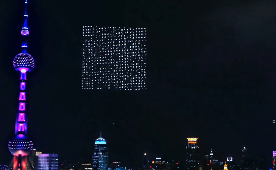 1,500 drones generate QR code in the sky to download games!