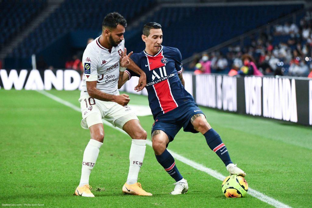 Angle Di Maria et Farid Boulaya, PSG-Metz