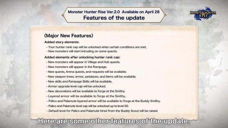 Monster Hunter Rise, revised to version 2.0