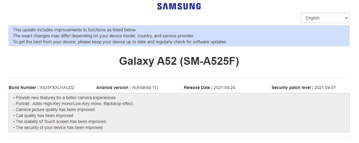 Samsung Galaxy a52 update