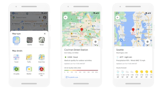 Information about future weather and air quality will also be displayed on Google Maps.