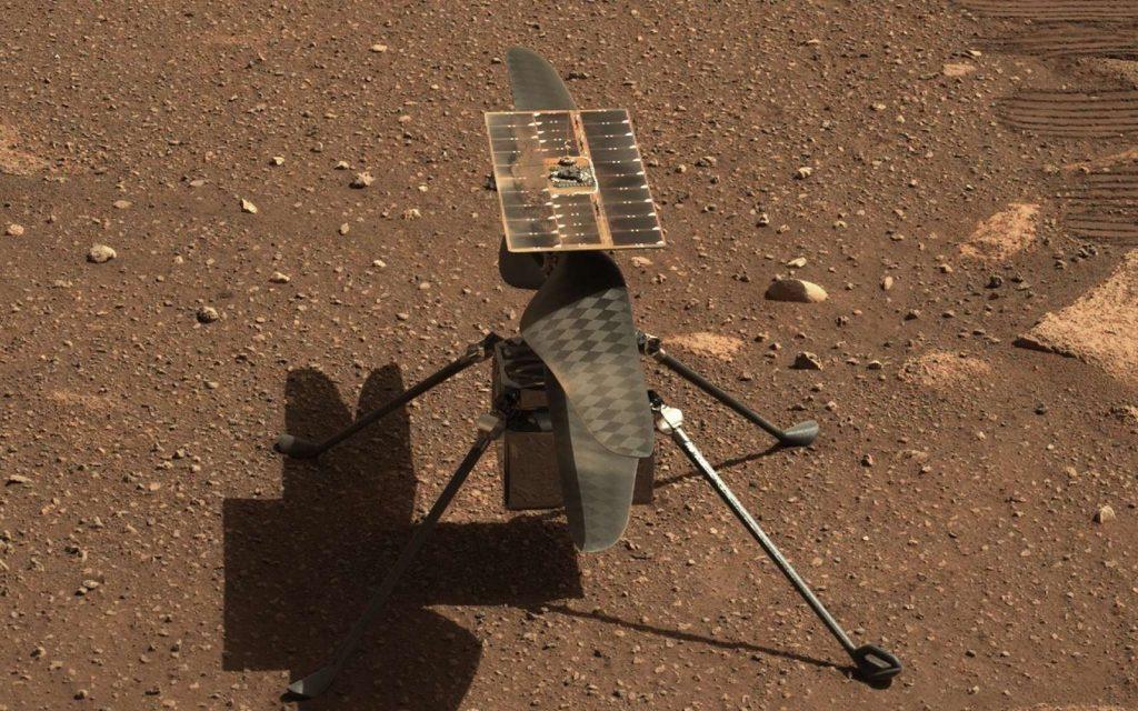 Gros plan sur Ingenuity. Image prise par la Mastcam-Z de Perseverance le 5 avril 2021, Sol 45. © Nasa, JPL-Caltech, ASU