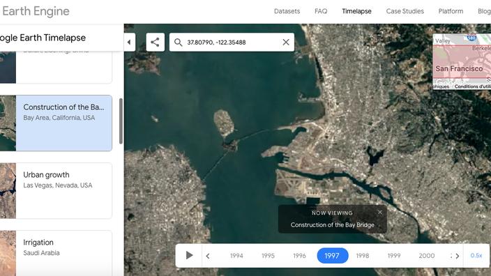 Google a intégré 20 millions de photographies prises par satellite pour concevoir Timelapse.
