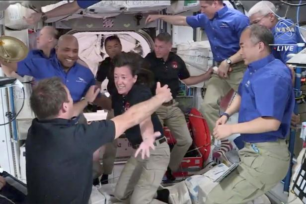 Crew 1 welcomes Crew 2 to the International Space Station