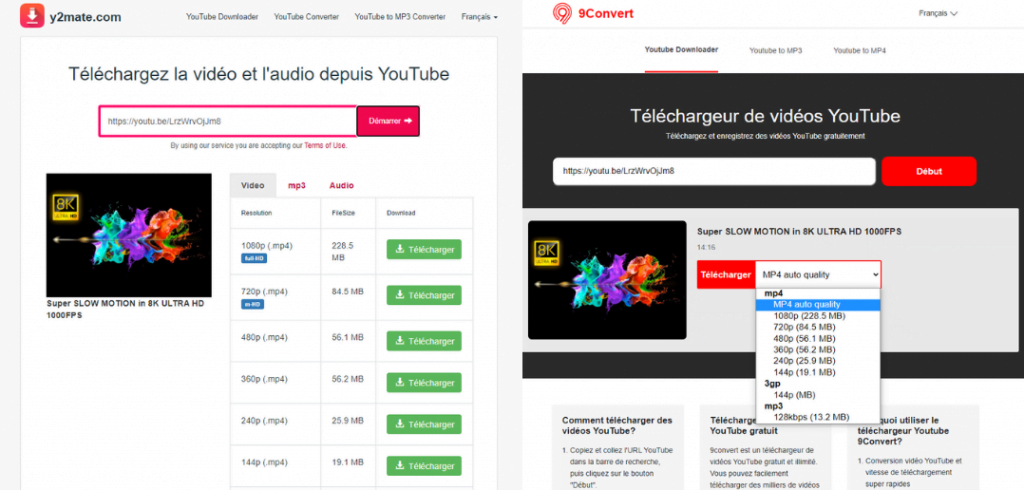 YouTube video download site: y2mate and 9convert