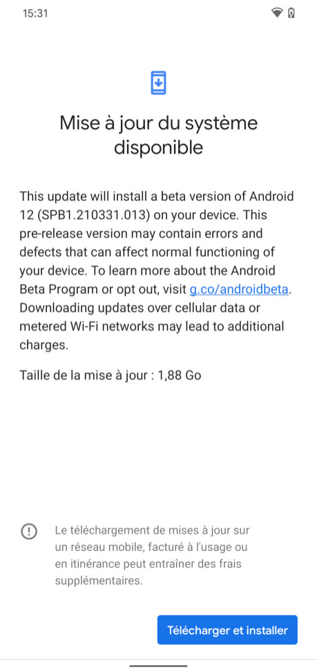 Android 12 Beta 1 Installation // Source: Frandroid