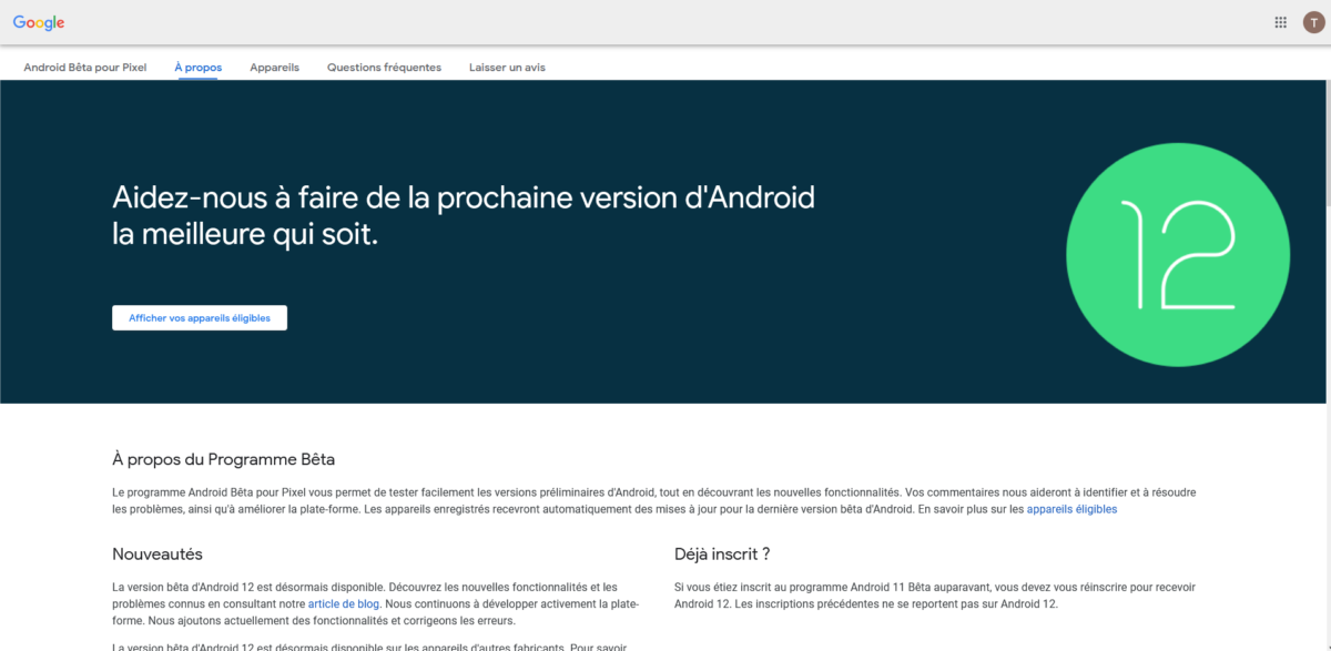 Android 12 beta program