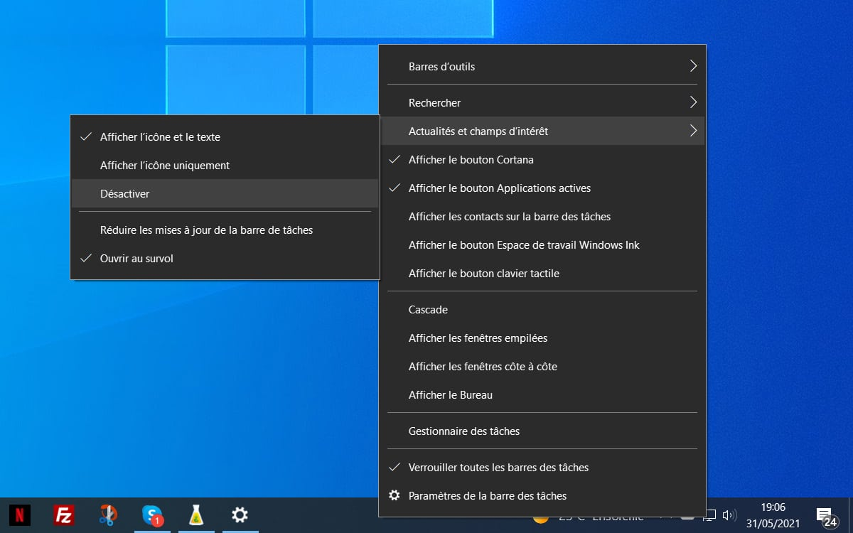 Windows 10 disables news and interest ports