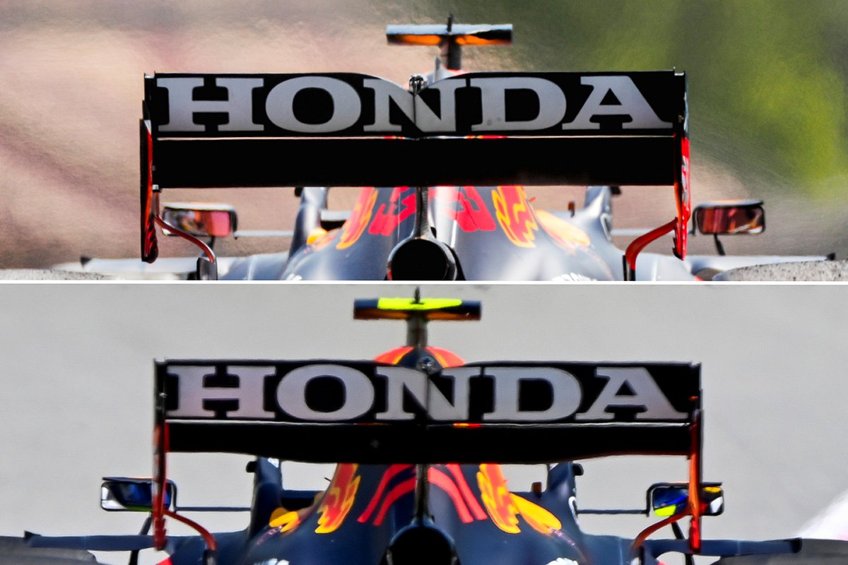 Red Bull RP16B: Compares the standard rear wing with the spoon wing found in Barcelona above