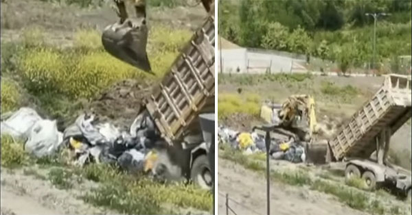 Power: Truck unloads garbage on a land in the city. The part was confiscated and the investigation file was opened