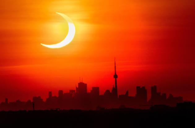 Partial solar eclipse on June 10, 2021 in Toronto, Canada.
