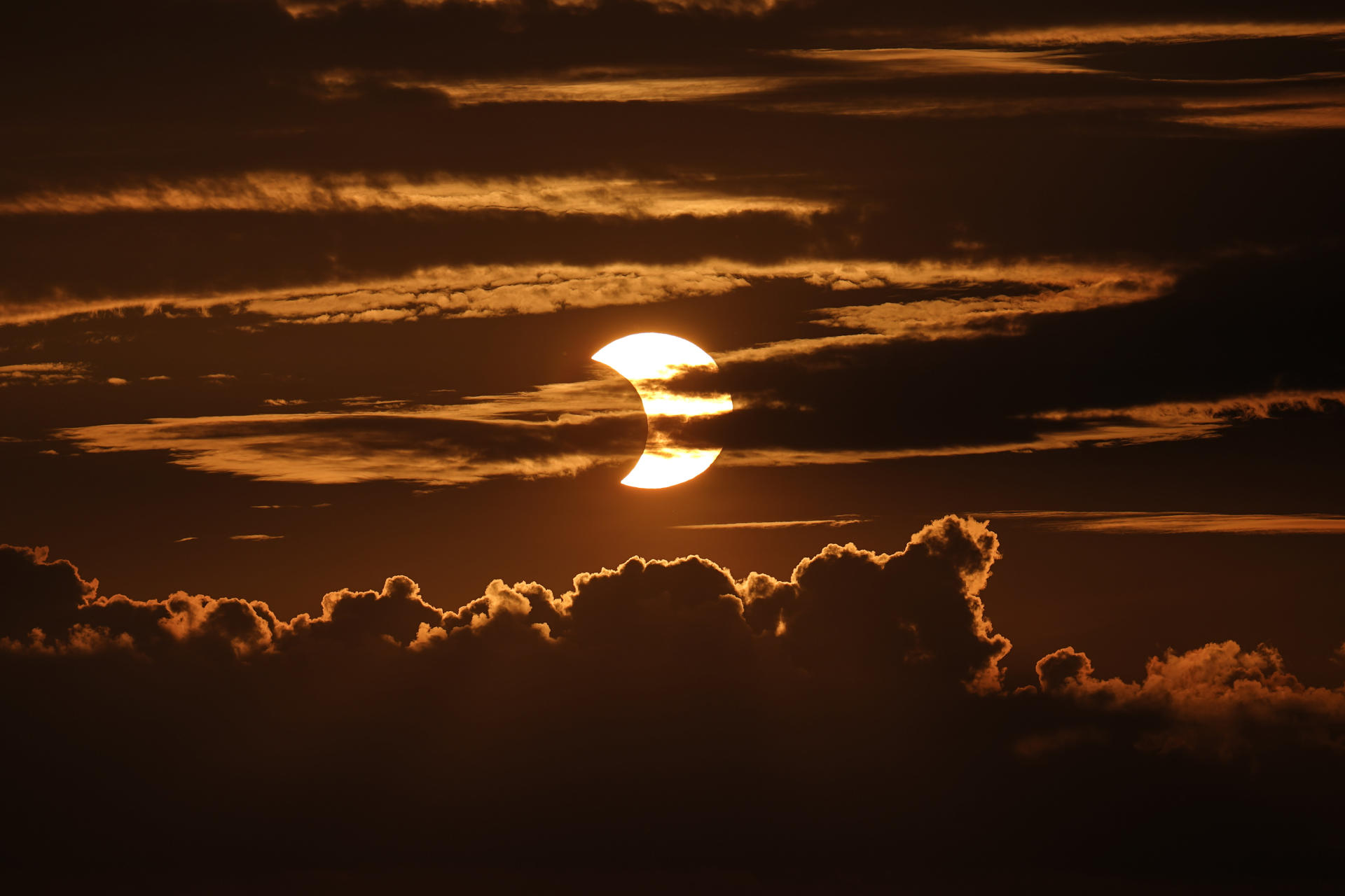 Partial solar eclipse seen on June 10, 2021 from Arbutus, Maryland, USA.