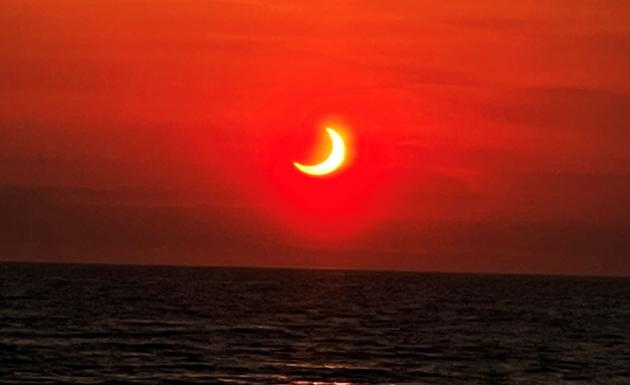 Partial eclipse seen from Avon-by-the-Sea in New Jersey, USA on June 10, 2021.