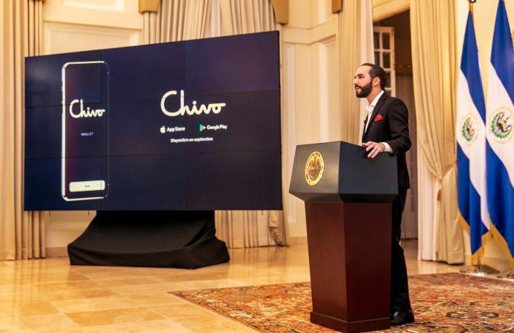 Bitcoin in una presentazione di Chivo (twitter.com/PresidenciaSV), Presidente Buckley