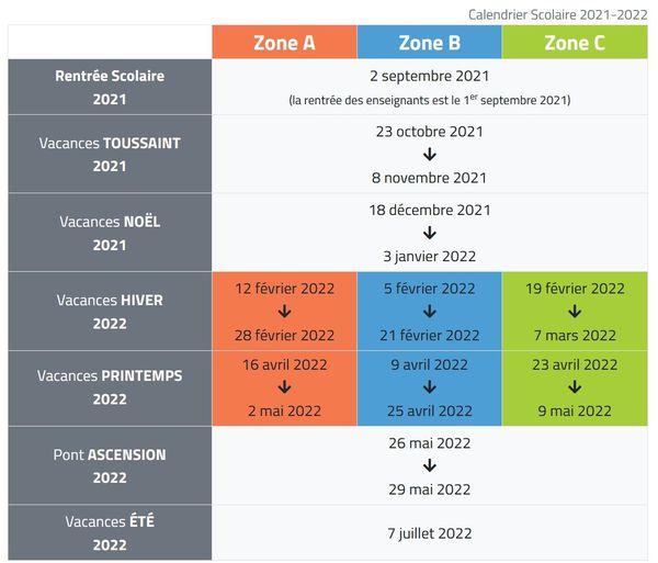 School Holidays 2021 - 2022