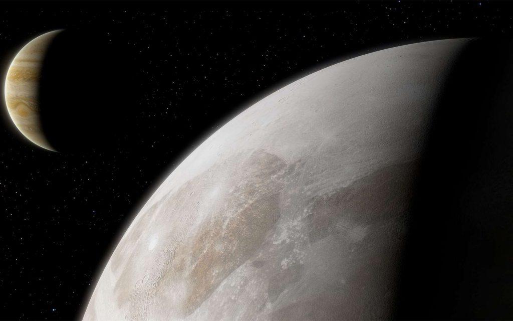 Vue d'artiste de Jupiter et Ganymède, une des quatre lunes Galiléennes de Jupiter. © ESA, Hubble, M. Ail