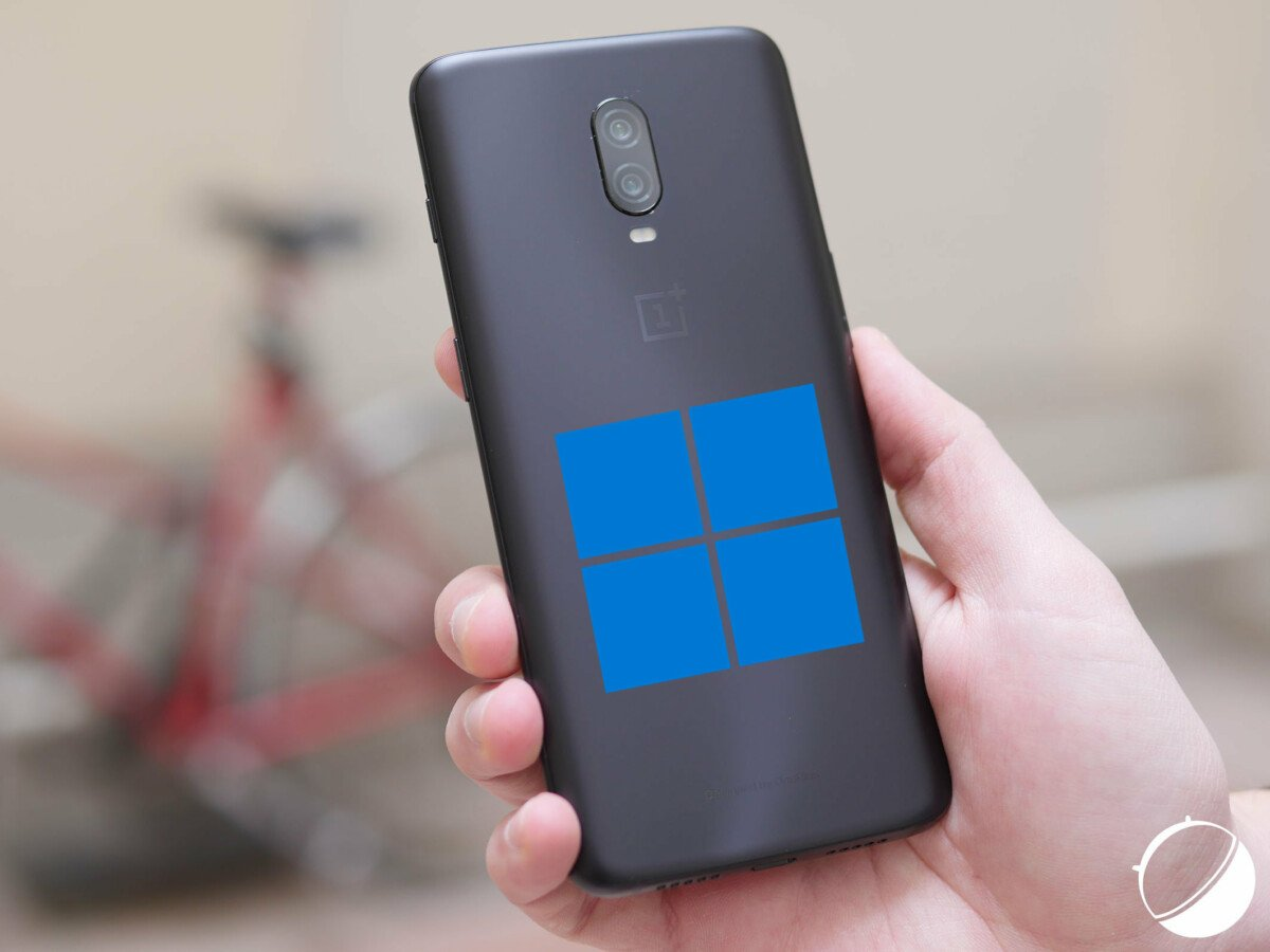 An OnePlus 6D with the Windows 11 logo