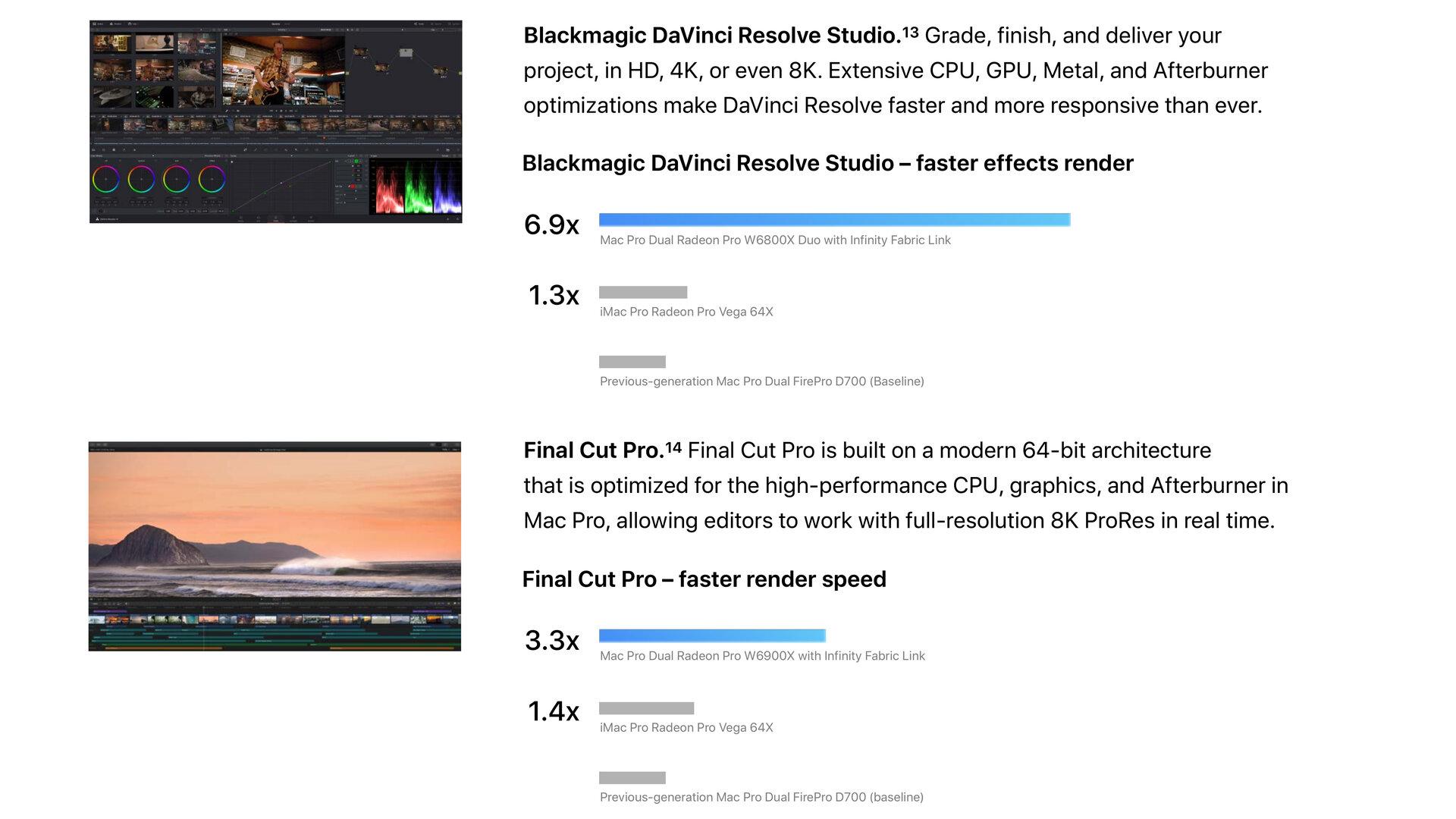 Graphics performance at Blackmagic Da Vinci Reserve Studio and Final Cut Pro