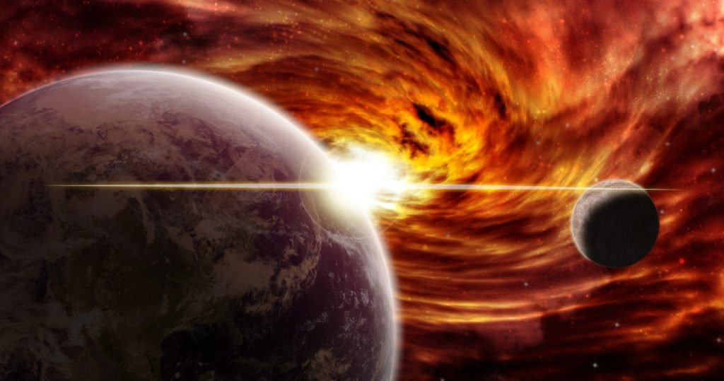 """Space, one disaster after another.  """"Millions of worlds and stars are swallowed up in this way"""" - Libero Cottidiano"""
