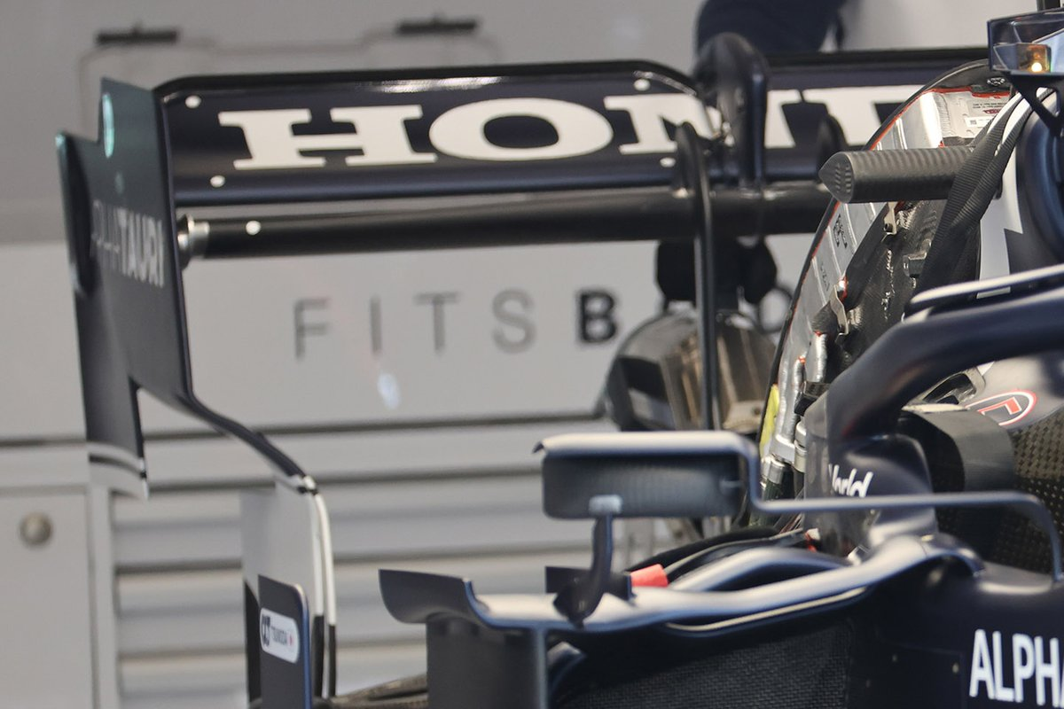 Detail of the rear wing for the AlphaTauri AT02, Spa