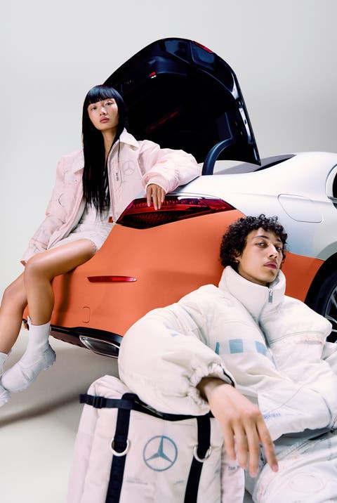 The collection includes jackets, pants and bags made from recycled airbags.  (Image: Mercedes Benz)