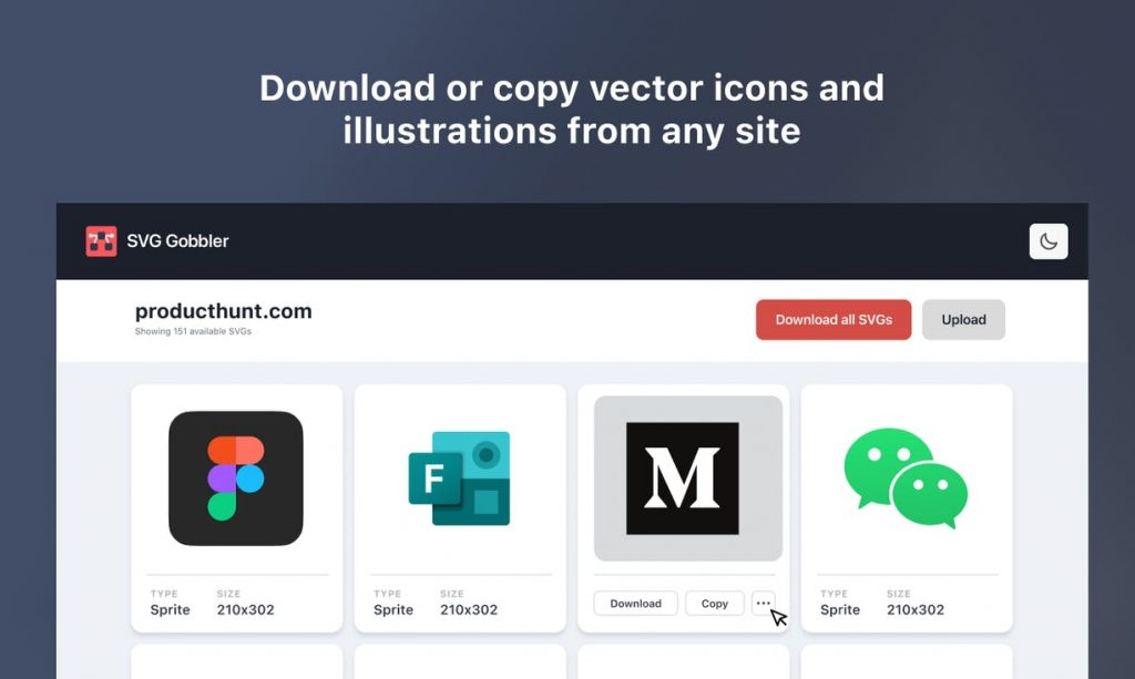 An extension for downloading, upgrading and processing SVG icons