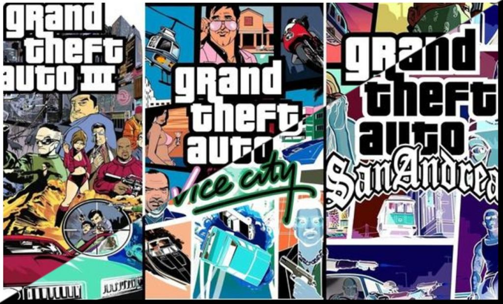 Grand Theft Auto III, Grand Theft Auto Vice City and Grand Theft Auto San Andreas