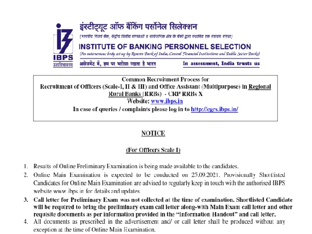 IBPS RRB PO 2021 Preliminary Exam Preliminary Assessment Plan ends with information on details
