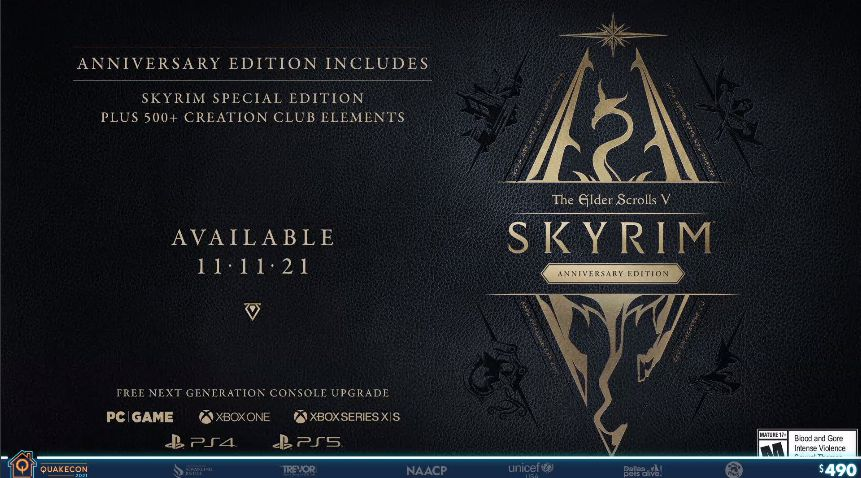 The Anniversary Edition of The Elder Scrolls V Skyrim has been officially announced by Bethesda