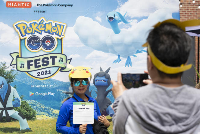 The helmeted figure wearing a Picasso character participated in the Pokemon Go Fest on July 17, 2021 in Chicago.